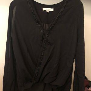 Beaded V-neck blouse